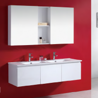 1200 mm Luxury Double Bowls Finger Pull Wall Hung Vanity